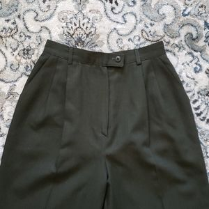 Vintage Olive Green Tailored Trousers